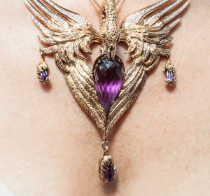 Odyssey necklace in 18k rose gold and Zambian amethysts by Duffy Photography: Mark C. O'Flaherty